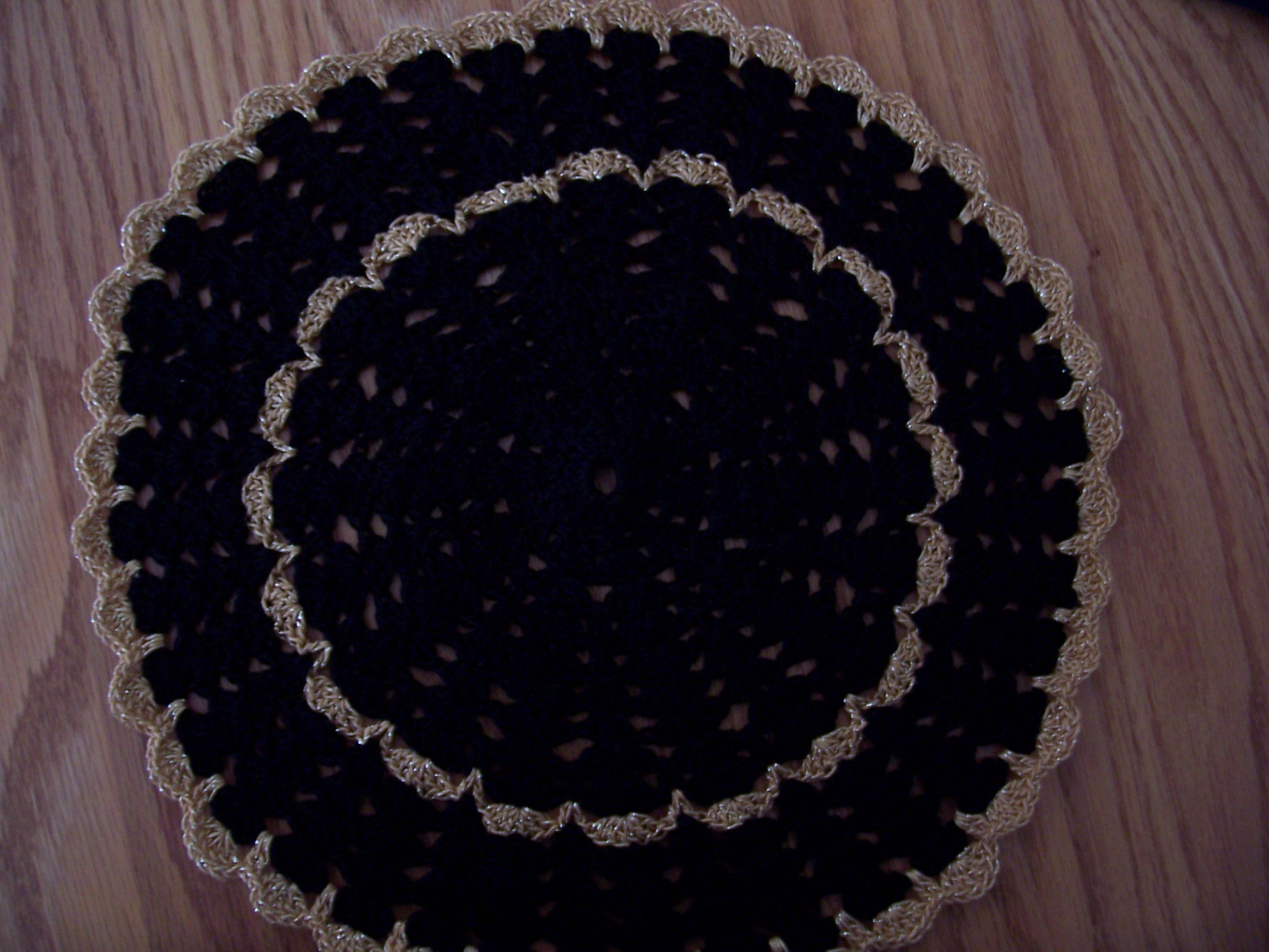 Black & Gold Shabby Chic Crocheted Doilies